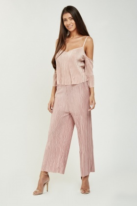 Pleated Cold Shoulder Flare Hem Top
