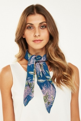 Tropical Palm Pleated Scarf