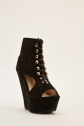 Cut Out Suedette Wedge