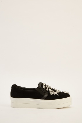 Encrusted Suedette Chunky Plimsolls
