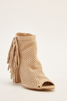 Fringed Peep Toe Heeled Boots
