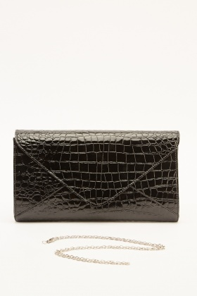 Mock Croc Envelope Clutch Bag