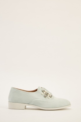 Pearl Suedette Slip On Shoes