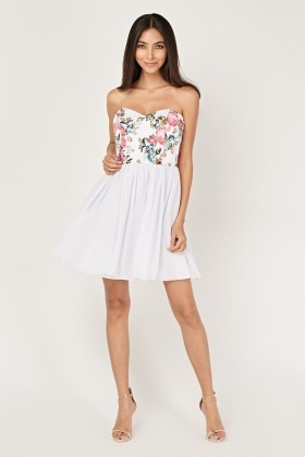 Bandeau Sweetheart Bodice Skater Dress