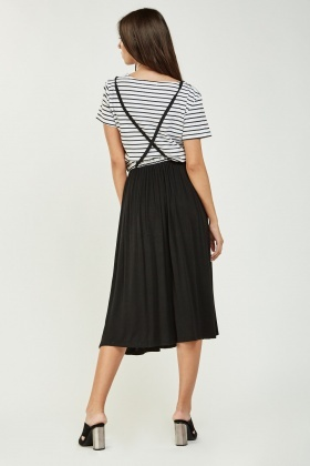 Contrasted Midi Striped Dress