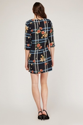 Contrasted Print Shift Dress