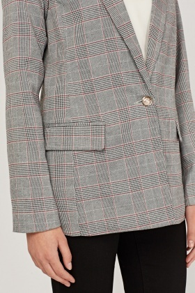 Double Breasted Glen Check Blazer