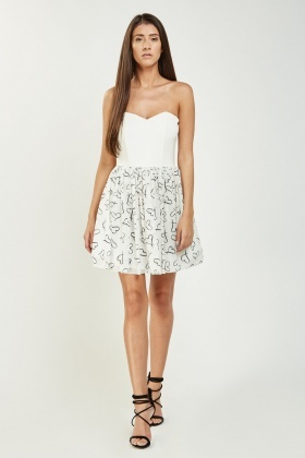 Heart Print Contrasted Sweetheart Dress