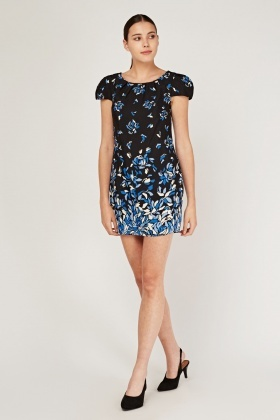 Printed Pouf Sleeve Tea Dress