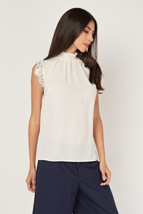 Ruched High Neck Shell Top