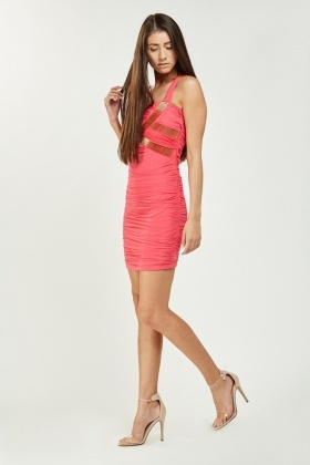 Sequinned Ruched Bodycon Dress