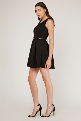 Textured Box Pleated Skater Dress