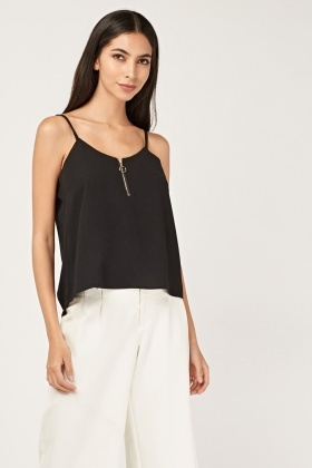 Zip Front Black Cami Top