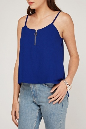 Zipper Front Cami Top