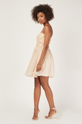 Contrasted Lace Overlay Sweetheart Dress