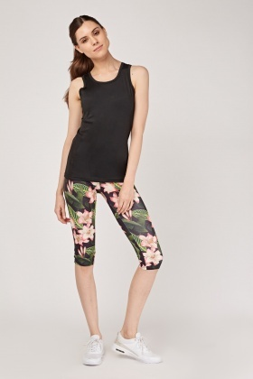 Cropped Black Tropical Sports Leggings