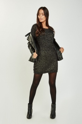 reliable quality purchase cheap price reduced Metallic Eyelash Knit Jumper Dress