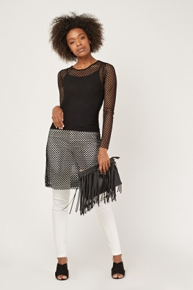 Perforated Overlay Long Top