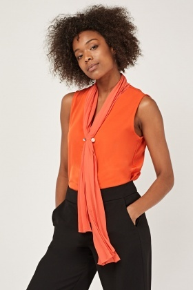 Pleated Neck Front Shell Top