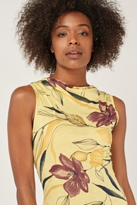 Printed Draped Neck Midi Dress