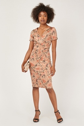 Ruched Front Print Midi Dress