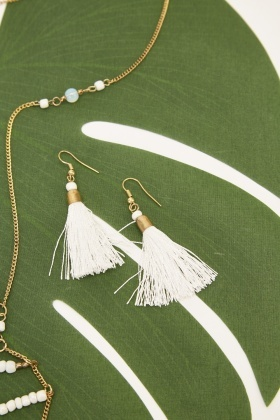 Tasseled Beaded Necklace And Earrings Set