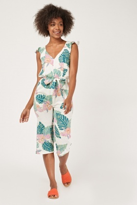 Tropical Palm Print Culotte Jumpsuit