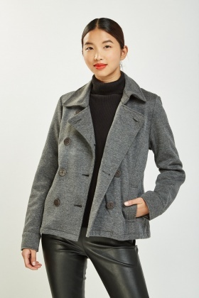 Button Front Speckled Pea Jacket