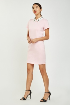 Embellished Collar Trim Shift Dress