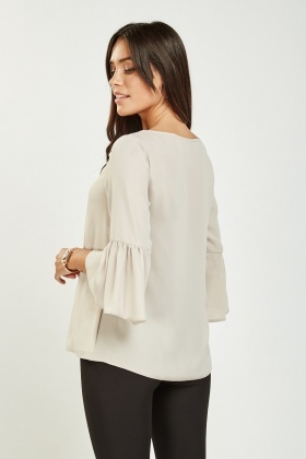 Frilly Sleeve Light Grey Blouse