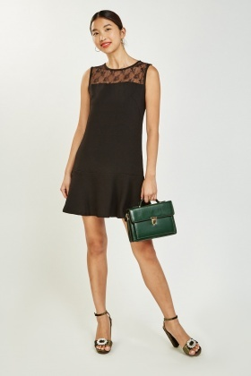 Lace Insert Frilly Peplum Dress