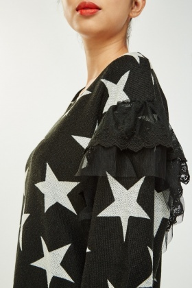 Mesh Star Contrast Jumper Dress
