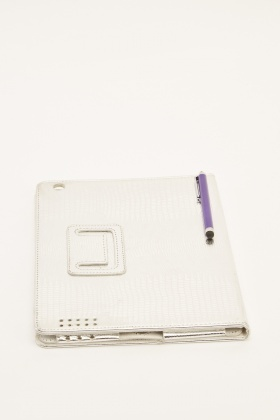 Metallic Mock Croc Ipad Case With Stylus Pen