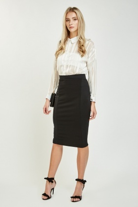 Ribbed Side Contrast Midi Skirt