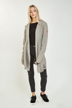 Ripped Hooded Long Cardigan