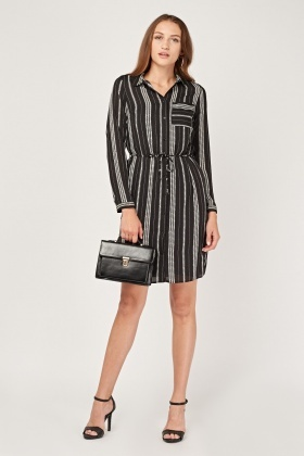 Star Print Sheer Shirt Dress
