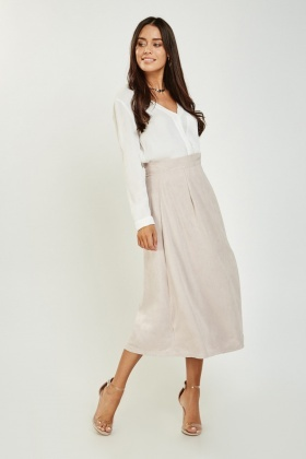 Wrap Side Suedette Midi Skirt
