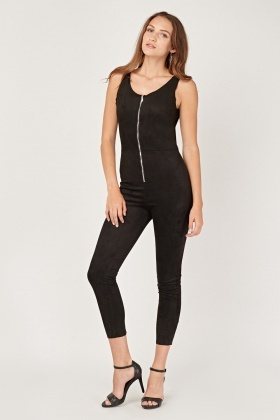 Zip Up Suedette Skinny Jumpsuit