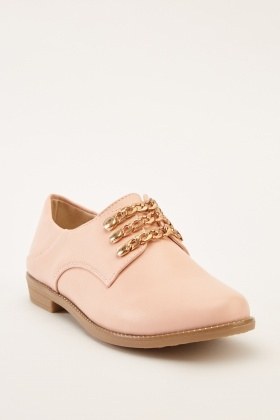 Chain Trim Faux Leather Brogues