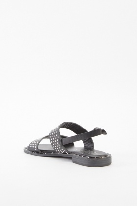 Cut Out Studded Flat Sandals