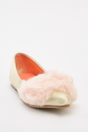 Fluffy Metallic Girls Pumps