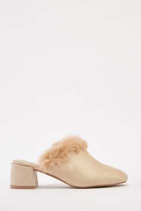 Fluffy Suedette Mules
