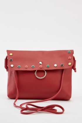 Studded Faux Leather Shoulder Bag