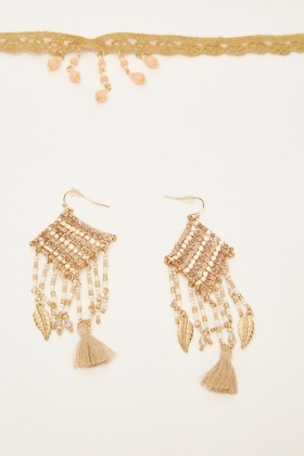 Beaded Embellished Necklace And Earrings Set