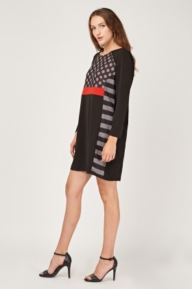 Contrasted Printed Shift Dress