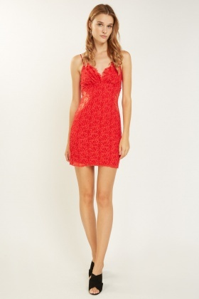 Lace Overlay Sweetheart Cami Dress