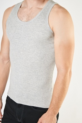 Pack Of 2 Ribbed Vest Tops