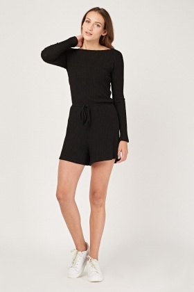 Ribbed Knit Cullote Playsuit