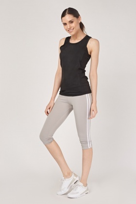 Striped Side Cropped Sports Leggings