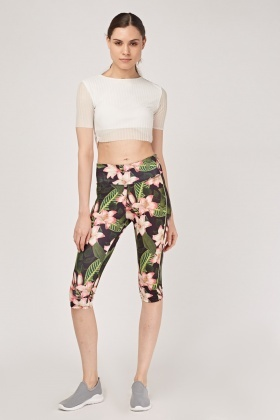 Tropical Sports Cropped Leggings